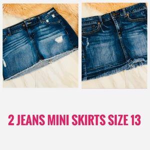 Two jeans distressed mini denim skirts size 13